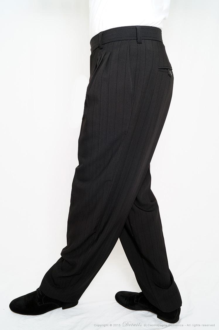 Pantalone Gessato Largo Nero Tango Details Abbigliamento Uomo